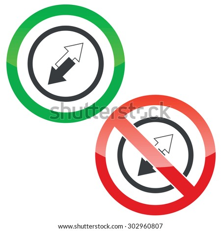 Allowed and forbidden signs with opposite arrows in circle, isolated on white
