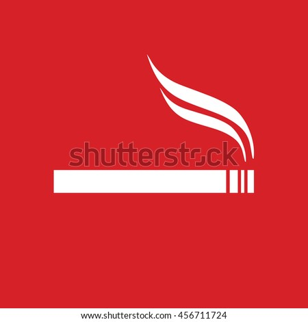 Allowed smoking sign. White cigarette vector icon. Red background - stock vector