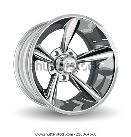 alloy wheel for a car. vector illustration without gradients. - stock vector