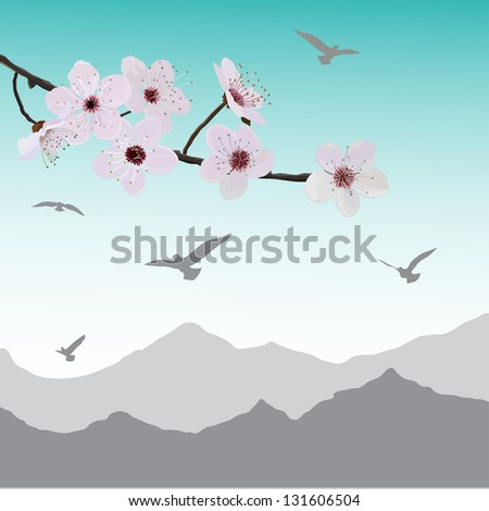 almond flowers and birds away - stock vector