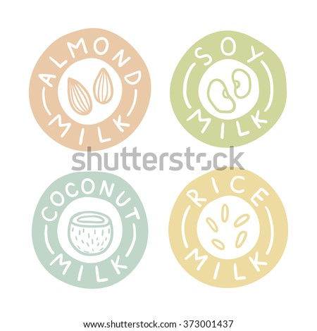 Almond, soy, coconut, rice milk labels. Vector hand drawn illustration