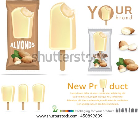 Almonds Ice Cream Packaging Designplastic Pack Stock Vector ...