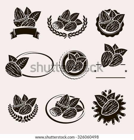 Almonds labels and elements set. Vector - stock vector