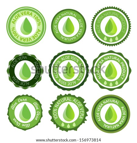 Aloe stamp or element vector set - stock vector