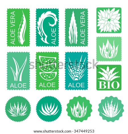 Aloe vera design elements stickers stencil style