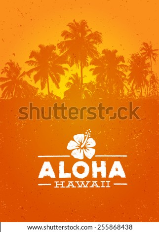 Aloha Hawaii Creative Summer Beach Tropical Vector Design Element  - stock vector