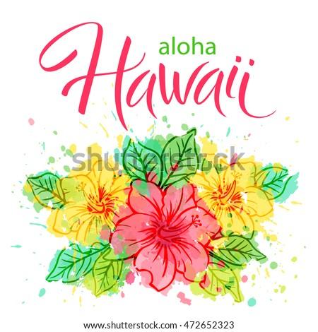 aloha hawaii hand written vector lettering stock vector 472652323 shutterstock. Black Bedroom Furniture Sets. Home Design Ideas