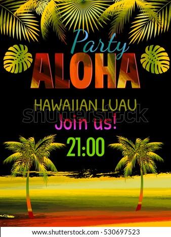 Aloha hawaii luau party invitation leaves stock vector 530697523 aloha hawaii luau party invitation leaves of palm tree best creative design for stopboris Gallery