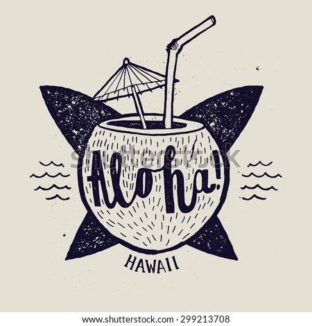 aloha surfing lettering. vector calligraphy illustration - stock vector