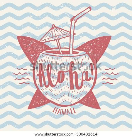 aloha surfing sign. grunge lettering. vector illustration - stock vector