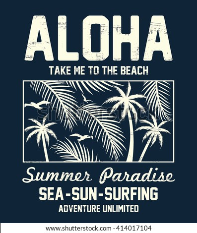 Aloha typography with floral illustration for t-shirt print , vector illustration. - stock vector