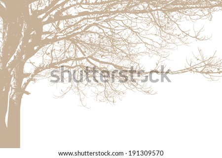 Alone tree silhouette. Vector - stock vector