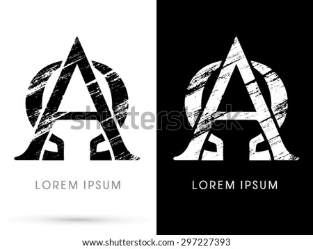 Alpha Omega Font Grunge Destroy Graphic Vector Stock Vector