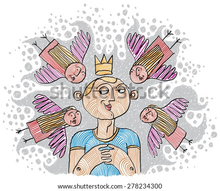 Alpha male concept. Magnetism idea vector simple illustration, hand drawn man with a crown on a head. Charismatic person. - stock vector