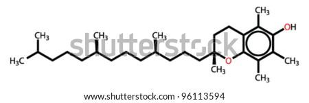 Alpha-tocopherol (vitamin E) structural formula - stock vector