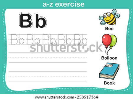 Alphabet a-z exercise with cartoon vocabulary illustration, vector - stock vector