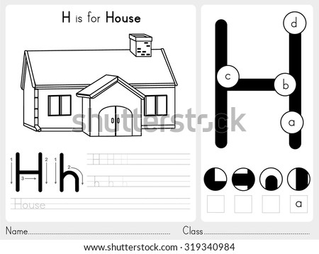 Alphabet A-Z Tracing and puzzle Worksheet,  Exercises for kids - Coloring book - illustration and vector outline - stock vector