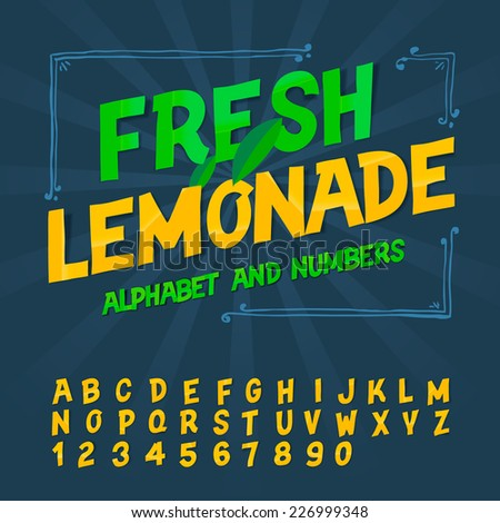Alphabet and numbers - Fresh lemonade, vector image.  - stock vector