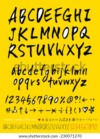 alphabet and numbers - hand drawn in vector - stock vector