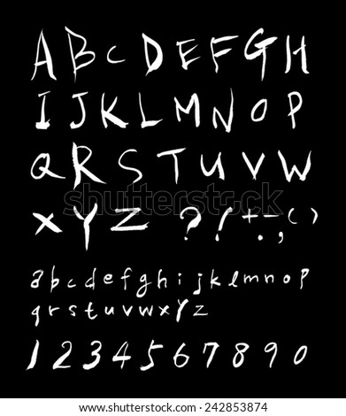 alphabet and numbers - hand drawn in vector / black background Version - stock vector