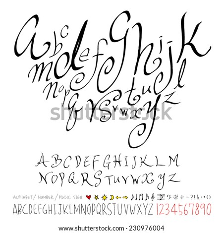 alphabet and numbers - hand drawn in vector   / Handwritten alphabet  - stock vector