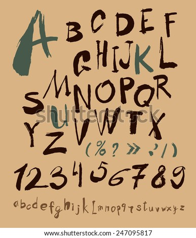 alphabet and numbers hand drawn in vector  Handwritten alphabet