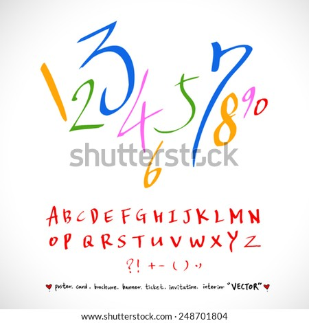alphabet and numbers - hand drawn in vector / Handwritten alphabet