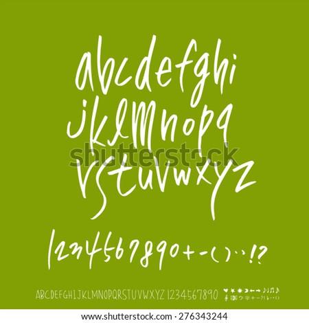 alphabet and numbers / Handwritten alphabet - vector - stock vector