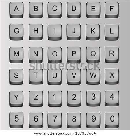 Alphabet and numbers on the keyboard buttons - stock vector