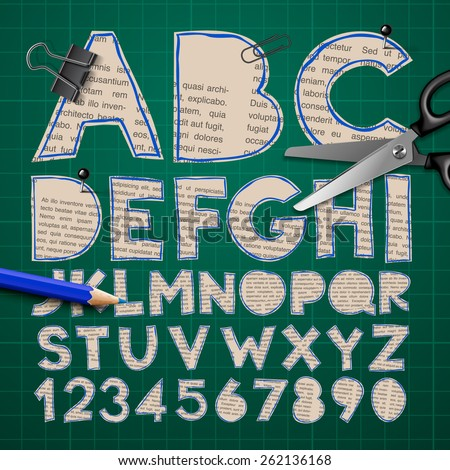 Alphabet and numbers, paper craft design, cut out by scissors from newspaper. Vector illustration. - stock vector