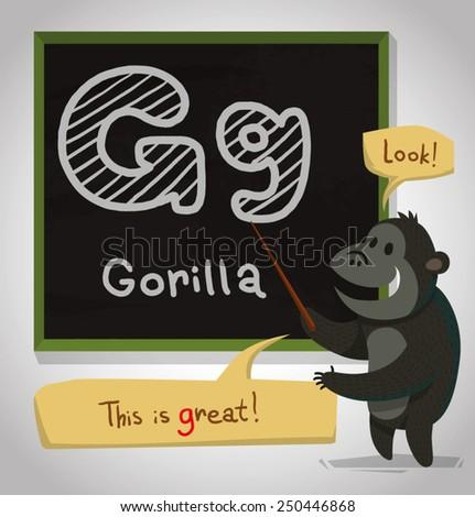 Alphabet Animal, Gorilla, vector - stock vector