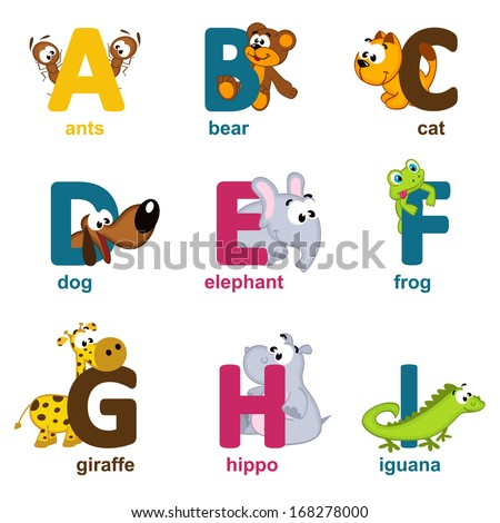 alphabet animals from A to I - vector illustration - stock vector