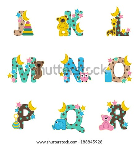 alphabet baby from J to R - vector illustration - stock vector