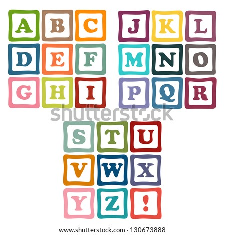alphabet blocks collection - stock vector