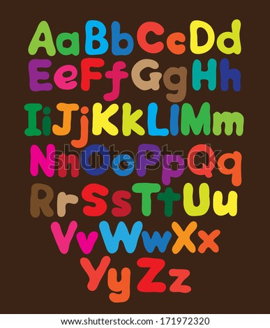 Alphabet bubble colored hand drawing - stock vector