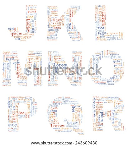 Alphabet capital letters consisting of text Lorem ipsum. EPS-10 - stock vector