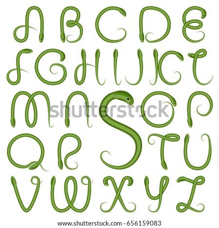 S Snake Font Alphabet Capita...