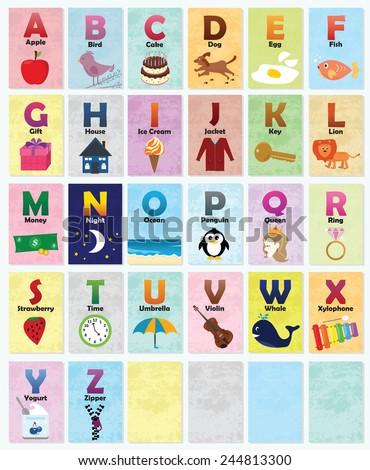 Alphabet Cards - stock vector