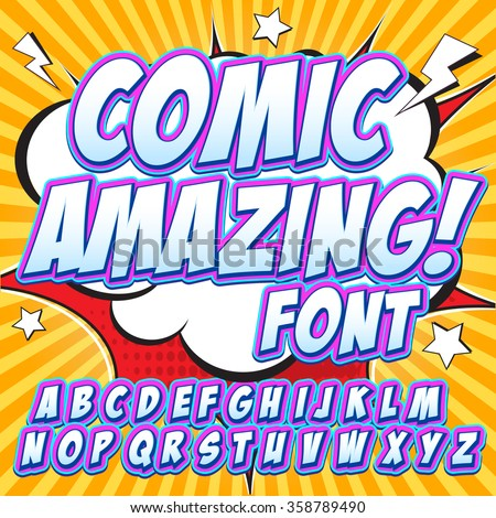 Alphabet collection set. Comic pop art style. Violet color version. Letters, numbers and figures for kids' illustrations, websites, comics, banners. Easy to use.