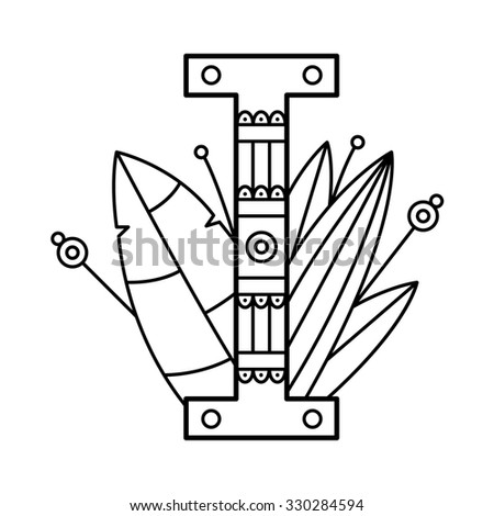 Alphabet coloring page. Vector illustration.