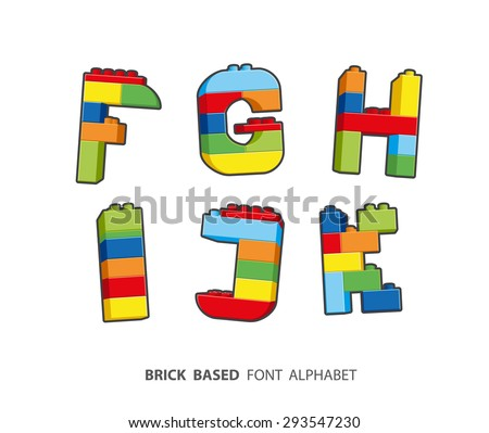 Alphabet created from playing bricks. - stock vector