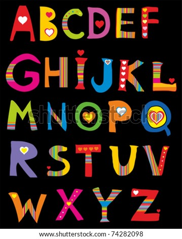 Alphabet design in a colorful style. Isolated on black Background. Vector illustration - stock vector
