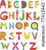 Alphabet design in a colorful style. isolated on White background. Vector illustration - stock vector