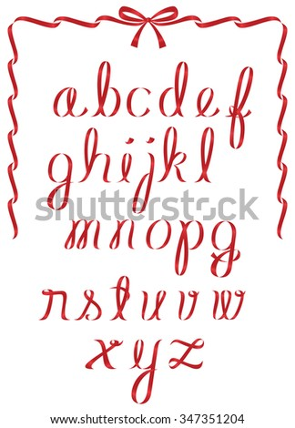 Alphabet featuring shiny red christmas ribbon minuscule letters