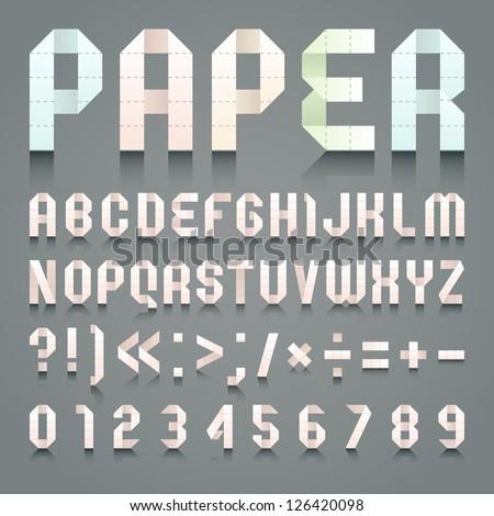 Alphabet folded of toilet pink paper. Roman alphabet & Arabic blue numerals (A, B, C, D, E, F, G, H, I, J, K, L, M, N, O, P, Q, R, S, T, U, V, W, X, Y, Z, 0, 1, 2, 3, 4, 5, 6, 7, 8, 9). - stock vector