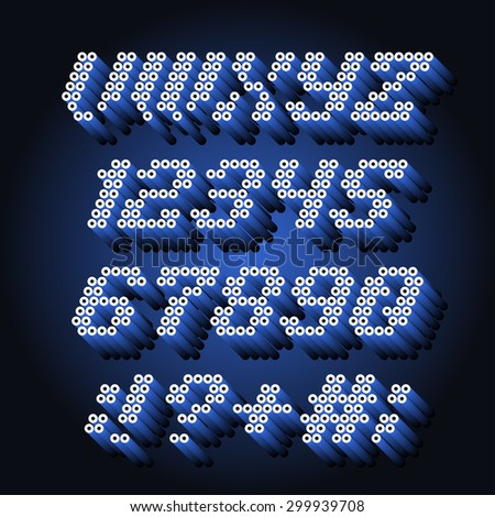 Alphabet font and numbers from pipe - stock vector