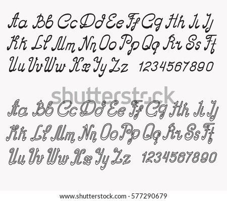 Alphabet Font Black And White Different Styles