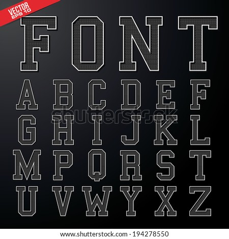 alphabet font college design in vector format - stock vector