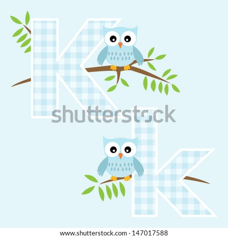 Alphabet for baby boy with owl vector letters K,k.Vector eps10 , illustration.
