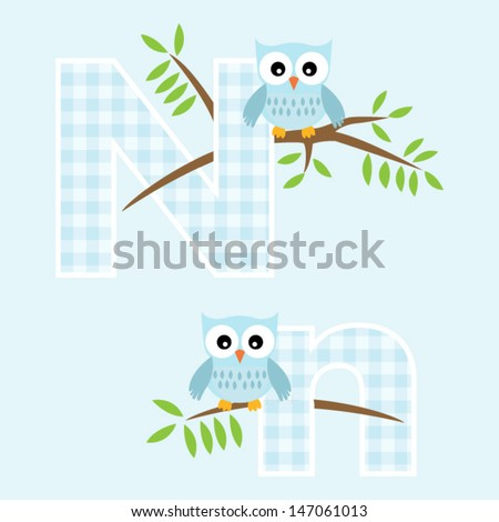 Alphabet for baby boy with owl vector letters N,n.Vector eps10 , illustration.